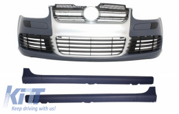 Front Bumper Side Skirts VW Golf V 5 (2003-2007) R32 Look Brushed Aluminium Look Grill - COFBVWG5R32AGTI