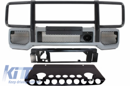 Front Bumper Skid Plate Off Road BullBar suitable for MERCEDES Benz G-class W463 1989-2017 A-Design - COFBMBW463AMGBB