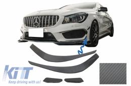 Front Bumper Splitters Fins Aero Mercedes Benz CLA W117 C117 X117 (2013-2016) CLA45 AMG Design Carbon Film Coating - FBSPMBW117AMGCF