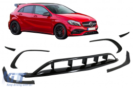 Front Bumper Splitters Fins Aero suitable for Mercedes A-Class W176 Facelift AMG Line (2015-2018) Piano Black - FBSPMBW176FAMG
