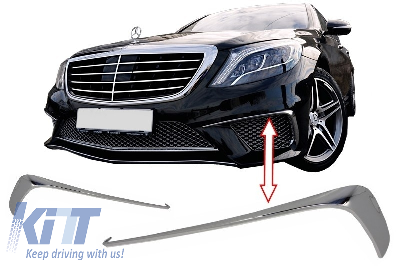Front bumper splitters fins mercedes benz w222 s class s65 for Mercedes benz front bumper parts
