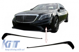 Front Bumper Splitters Fins Mercedes Benz W222 S-Class S63 AMG Design (2013-up) Black Edition