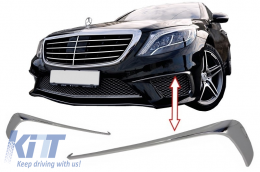 Front Bumper Splitters Fins suitable for MERCEDES W222 S-Class S65 Design (2013-up) Chrome Edition - FBFLMBW222