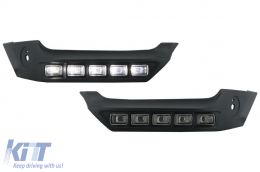 Front Bumper Spoiler LED DRL Extension suitable for MERCEDES W463 G-Class AMG (1989-up) - FBSMBW463BSK