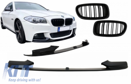 Front Bumper Spoiler Lip suitable for BMW 5 Series F10 F11 Sedan Touring (2011-2017) M-Performance Design With Double Stripe Piano Black Kidney Grille