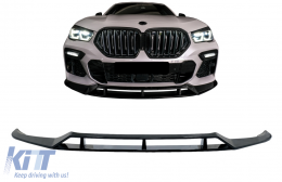 Front Bumper Spoiler Lip suitable for BMW X6 G06 X6M (2019-up) Piano Black - FBSBMG06MP