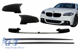 Front Bumper Spoiler Lip with Mirror Covers and Side Skirts Add-on Lip Extensions suitable for BMW 5 Series F10 F11 Sedan Touring (2015-2017) M-Performance Design - COFBSBMF10MPBSS