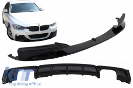 Front Bumper Spoiler with Rear Diffuser suitable for BMW 3 Series F30 F31 (2011-up) M Performance Design Brilliant Black Edition - CORDBMF30MPDOBBS