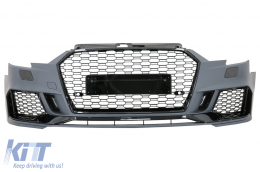 Front Bumper suitable for AUDI A3 8V Facelift (2016-2018) Hatchback Sportback RS3 Brilliant Black Design - FBAUA38VFRS3H