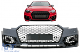 Front Bumper suitable for AUDI A4 B9 8W (2016-Up) Quattro RS4 Design - FBAUA4B9RS4BK