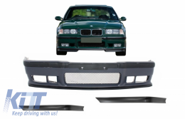 Front Bumper suitable for BMW 3 Series E36 (1992-1998) with Spoiler Splitters Flaps M3 Design