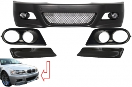 Front Bumper suitable for BMW 3 Series Coupe/Cabrio/Sedan/Estate E46 (1998-2004) M3 Design with Air Ducts Vents and Splitters Carbon CSL Design