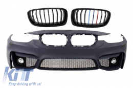 Front Bumper suitable for BMW 3er F30 F31 (2011-up) M3 Design With Fog Lamps with Front Grilles M-Power 3 Color Design