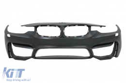 Front Bumper suitable for BMW 3er F30 F31 (2011-up) M3 Design With Fog Lamps with Front Grilles Double Stripe M Design Piano Black