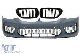 Front Bumper suitable for BMW 5 Series G30 G31 (2017-up) with Central Kidney Grilles Double Stripe M5 Sport Design - COFBBMG30M5DPB