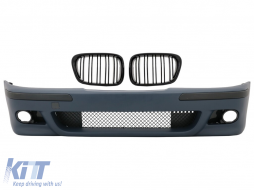 Front Bumper suitable for BMW E39 5 Series (1995-2003) M5 Look withCentral Grille Double Stripe Piano Black - COFBBME39M5WFG