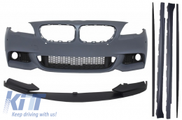 Front Bumper suitable for BMW F10 F11 5 Series (2011-up) with Extension Lip and Side Skirts M-Performance Design - COFBBMF10MTPDCWFSS