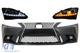 Front Bumper suitable for LEXUS IS XE20 (2006-2013) IS F Sport Facelift XE30 2014-up Design and LED DRL Headlights Dynamic Turn Light Signal - COFBLXIS200H