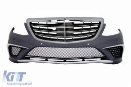 Front Bumper suitable for Mercedes Benz W222 S-Class (2013-up) S63 A-Design with Central Grille Chrom