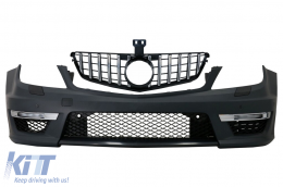 Front Bumper suitable for MERCEDES C-Class W204 (2012-up) C63 Facelift A-Design with Front Grille GT-R Panamericana Chrom - COFBMBW204AMGFCN