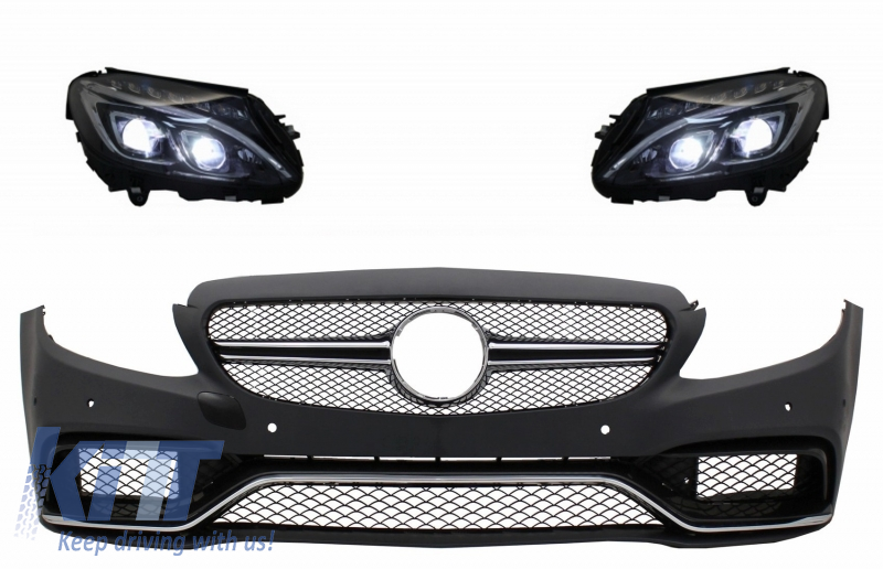 Front Bumper suitable for MERCEDES C-Class W205 S205 (2014-2018) Limousine  T-Model with Full LED Headlights Conversion Upgrade for Halogen LHD