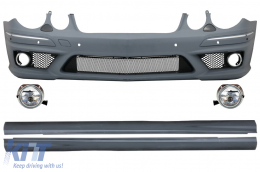 Front Bumper suitable for MERCEDES W211 E-Class Facelift (2006-2009) With Fog Lights and Side Skirts - COFBMBW211AMGPWOFLSS