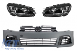 Front Bumper suitable for VW Golf VI 6 (2008-2013) R20 Look with Headlights 3D LED DRL U-Design LED Flowing Turning Light