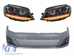 Front Bumper  suitable for VW Golf VII Golf 7 2013-2017 GTI Look with Headlights 3D LED DLR RED FLOWING Turn Light