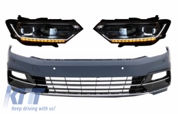 Front Bumper suitable for VW Passat B8 3G (2015-2018) R-Line with Headlights LED Bi-Xenon Matrix with Sequential Dynamic Turning Lights - COFBVWPA3GRLHL