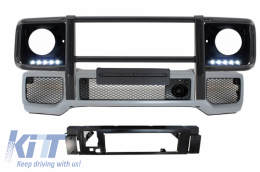 Front Bumper with BullBar Black Headlights Covers  LED DRL suitable for MERCEDES W463 G-Class 89+ G65 AMG Design - COFBMBW463AMGHCBBG65