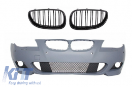 Front Bumper with Central Grilles Kidney BMW 5 Series E60/E61 07-10 M-Technik Design Without Fog lights - COFBBME60MTP18WF
