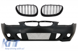 Front Bumper with Central Grilles Kidney Piano Black BMW 5 Series E60/E61 2003-2009 M-Technik Design Without Fog Lights - COFBBME60MTWFDPB