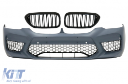 Front Bumper with Central Kidney Grilles Double Stripe suitable for BMW 5 Series G30 G31 (2017-up) M5 Sport Design - COFBBMG30M5DPB2