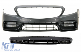 Front Bumper with Diffuser and Black Tips suitable for Mercedes C-Class W205 S205 AMG Sport Line (2014-2020) C63S Design