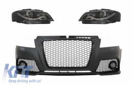 Front Bumper With Fog Lights suitable for AUDI A3 8P 8PA Facelift RS3 Design (2009-2012) and Headlights Drl Optic Black - COFBAUA38PFXB