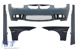 Front Bumper with Front Fenders and Side Skirts suitable for BMW 3 Series E92 Coupe E93 Cabrio (2006-2009) M3 Look with PDC Without Projectors - COCBBME92M3PWFFFSS