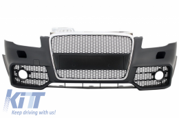 Front Bumper with Front Grille suitable for AUDI A4 B7 (2004-2008) RS4 Design Chrome and Black - FBAUA4B7RS4/1017652