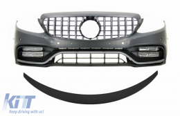 Front Bumper with Grille and Trunk Boot Spoiler Matte Black suitable for Mercedes C-Class C205 (2014-2018) C63 GT-R Design
