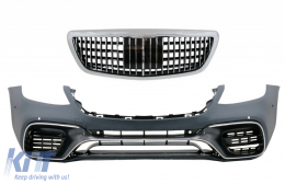 Front Bumper with Grille Chrome suitable for MERCEDES S-Class W222 Facelift (2014-06.2017) Vertical S63 Design - COFBMBW222AMGS63FMBH