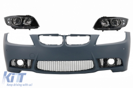 Front Bumper with Headlights Black suitable for BMW 3 series E90 E91 Pre-LCI (2005-2008) Sedan Touring M3 Design