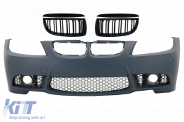 Front Bumper with Kidney Grilles Double Stripe suitable for BMW 3 series E90 E91 Pre-LCI (2004-2008) Sedan Touring M3 Design