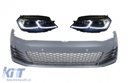 Front Bumper with LED Headlights Sequential Dynamic Turning Lights suitable for VW Golf VII 7 5G (2013-2017) GTI Look - COFBVWG7GTIHLFS