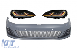 Front Bumper with LED Headlights Sequential Dynamic Turning Lights Red suitable for VW Golf VII 7 5G (2013-2017) Facelift G7.5 GTI Look - COFBVWG7GTIHLFR
