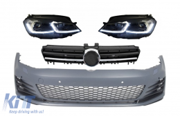 Front Bumper with LED Headlights Sequential Dynamic Turning Lights and Grille Chrome Insertions suitable for VW Golf VII 7 5G (2013-2017) GTI Look - COCBVWG7GTIHLFSC