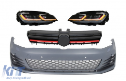 Front Bumper with LED Headlights Sequential Dynamic Turning Lights and Grille Red suitable for VW Golf VII 7 5G (2013-2017) Facelift G7.5 GTI Look - COCBVWG7GTIHLFRR