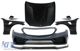 Front Bumper with Lip and Hood Bonnet & Front Fenders Suitable for Mercedes C-Class W205 S205 C205 A205 (2014-2019) GT Design - COCBMBW205FFGT