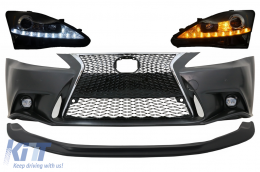 Front Bumper with Lower Spoiler Lip Lexus IS XE20 (2006-2013) IS F Sport Facelift XE30 2014-up Design and LED DRL Headlights Dynamic Turn Light Signal - COFBLXIS200HL