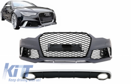 Front Bumper with Rear Bumper Diffuser & Exhaust Tips suitable for AUDI A6 C7 4G Facelift (2011-2014) RS6 Design