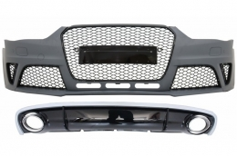 Front Bumper with Rear Bumper Valance Diffuser & Exhaust Tips Audi A4 B8 Facelift (2012-2015) Limousine Avant RS4 Design
