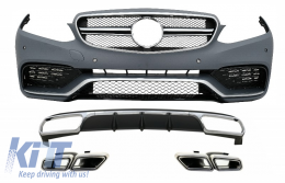 Front Bumper with Rear Diffuser and Exhaust Muffler Tips Chrome suitable for Mercedes E-Class W212 Facelift (2013-2016) only Standard Bumper - COCBMBW212AMGN63WOL